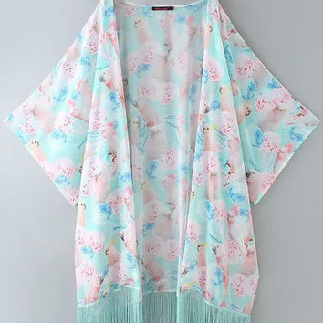 Blue Floral and Parrot Print Kimono with Tassels