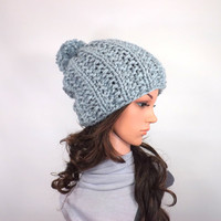 Knitted Chunky Hat with PomPom /SEA STORM/, Unisex Slouchy Beanie, Knit Chunky Toque, Ski Hat, Gift Idea