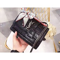YSL sells fashionable casual lady crocodile pattern with silk scarf shopping shoulder bag