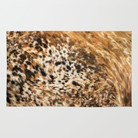 Rustic Country Western Texas Long Horn Cow Animal Hide Prints Rug by KateLCardsNMore