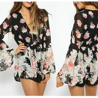 Black Floral Print Bell Sleeve High Waisted Romper