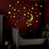 D10 Glow stick A Set Kids Bedroom Fluorescent Glow In The Dark Stars Wall Stickers Ceiling Doors Lamps 2 Colors Free Shipping