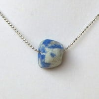 Small Lapis Gemstone Necklace by The Wild Willows Simple Boho Chic