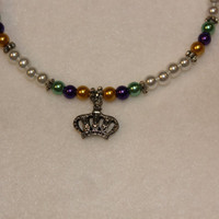 Purple Green and Yellow Mardi Gras Crown by MelNoelCreations