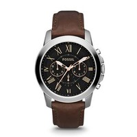 Fossil Grant Chronograph Leather Watch in Brown and Silver FS4813