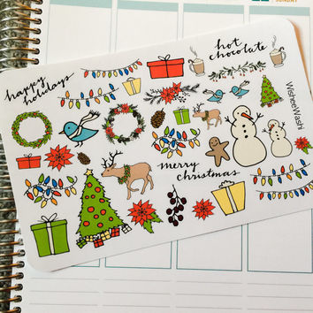 Christmas Stickers - Christmas Planner Stickers - Holiday Planner Stickers - Decorative Christmas Stickers - Planner Stickers