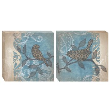 Blue Scroll Canvas Wall Art (Set of 2) (1068) - Illuminada