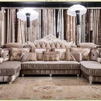 Popular European style living room furniture  sectional sofa set  in high quality fabric U01