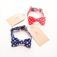 Happy Dog and Cat Lovely Retro Polka Dot Yellow Bow tie Collar :) Love Factory By Rie Miyamoto handmade bows jewelry accessory