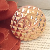Vintage Designer button on HANDMADE wire wrapped ring.  Gold artisan logo ring. Size 6.5