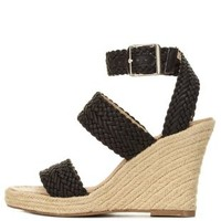 Black Braided Espadrille Wedge Sandals by Charlotte Russe