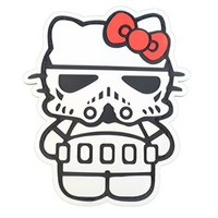 Hello Kitty Star Wars Stormtrooper Galactic Empire Soldier PVC Rubber 3D Velcro Patch