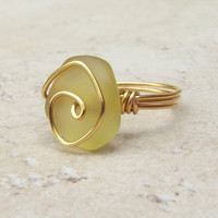 Yellow Sea Glass Ring:  24K Gold Swirl Wire Wrapped Lemon Beach Jewelry, Size 7