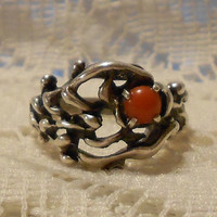 Vintage Sterling Silver with Red Coral Ring Size 8 1/2