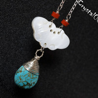 925 Sterling Silver Wrapped Turquoise Necklace USA