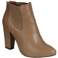"""Nina"" Leather Chunky Heel Almond Toe Ankle Booties - Putty"