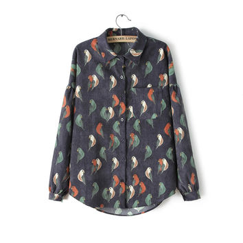 Black Birds Pattern Long-Sleeve Button Collared Corduroy Shirt With Pocket