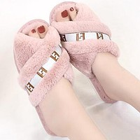 FENDI Autumn Winter Popular Women Fur Flats Sandals Slippers Shoes Pink