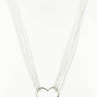 NECKLACE / LINK / METAL / HEART / MULTI STRANDED / 1 INCH DROP / 16 INCH LONG / NICKEL AND LEAD COMPLIANT