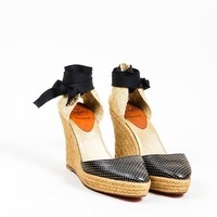 DCCK2 Christian Louboutin Black and GoldChristian Louboutin Perforated Leather Espadrille Wedges