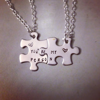 Personalized Necklace Set Hand Stamped Jewelry - You're my Person Grey's Anatomy Inspired