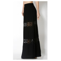 """In Style  """"Lovely in Lace"""" Black Lace Paneled Maxi Skirt, Boho, Women's Apparel"""