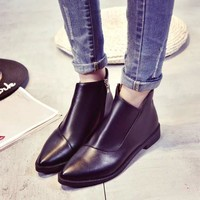 Hot Deal On Sale Korean Dr. Martens Star Autumn England Style Flat Pointed Toe Boots [9138741447]