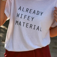 Clean Letters Cotton Casual Funny Shirt For Lady White Top Tee Hipster