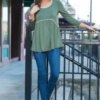 Guided By Love Top, Olive