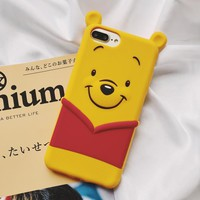 3D Cute Winnie Pooh bear Pattern soft phone case for iphone 6 S 7 8 plus X XS MAX XR cover for samsung galaxy S7 edge S 8 9 Note