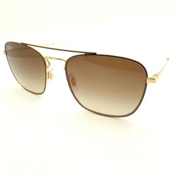 Ray Ban 3589 9055/13 Brown Gold Brown Fade New Authentic Sunglasses