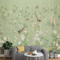 beibehang European new Chinese hand-painted pen flowers and birds nostalgic pastoral wallpaper background  papel de parede