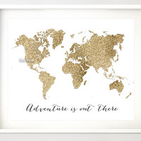 "8x10"" 20x16"" Printable world map, golden glitter map, adventure quote print, travel wall art, gold print, gold wall art, gold map -gp015D"