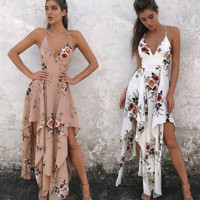 Fashion sexy straps print flower irregular long dress