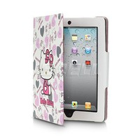 Ecell - WHITE HELLO KITTY LEATHER CASE & STAND FOR APPLE iPAD 2