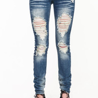 BLUE WASH SHREDDED JEANS