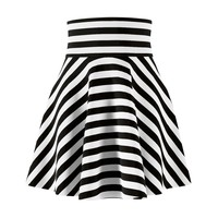 Black & White Stripe Skater Skirt