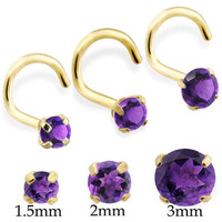 14K Real Gold (Nickel free) Nose Screw with Round Amethyst