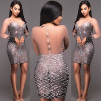 Womens Sexy Slim Bodycon Mesh Dress Ladies Party bling Dress Lady Woemn Sundress Sexy Dresses
