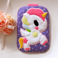 My Cute Pink Unicorn - Purple Stars Pink Camera iphone felt Case with closure. Gift for her. iPhone4/4s iPod Samsung S2 S3 S4
