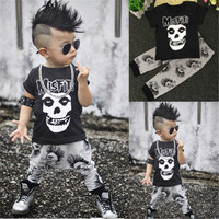 2pcs Baby Boys Novel Clothes Sets Casual Short Sleeve Tops For Summer Wear + Long Pants Clothes Outfits