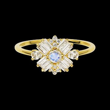 Rainbow Moonstone and Diamond Dandelion Ring