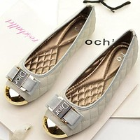 Dior Trending Women Stylish Metal Buckle Flats Boat Shoes Brand Single Shoes Grey I12183-1
