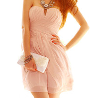 Pink Strapless Sweet Low-cut Dress