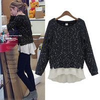 Black Chiffon Knit Sweater