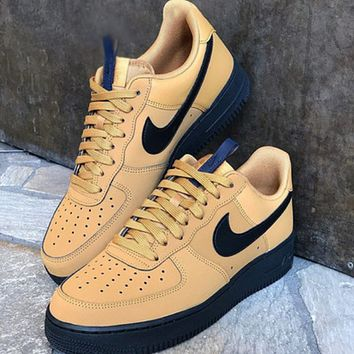 Nike Air Force AF1 New fashion hook couple running shoes Brown