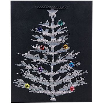 Medium Matte Christmas Gift Bags with Holographic, Cheer (60 Pieces)