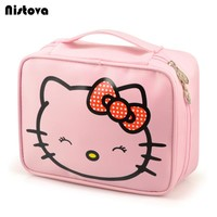 Hello Kitty Cosmetic Bags Cartoon Travel Toiletry Letter Pattern Necessary Organizer Makeup Bag Storage Beauty Bag for Woman