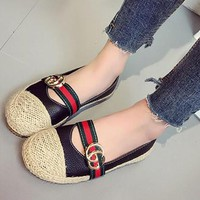 Fashion Casual Straw Weave Multicolor GG Letter Fisherman Slip-On Shoes Women Loafer Flats Shoes