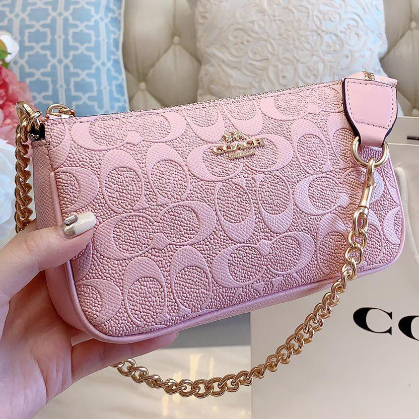 Image of COACH New fashion pattern leather chain shoulder bag crossbody bag Pink